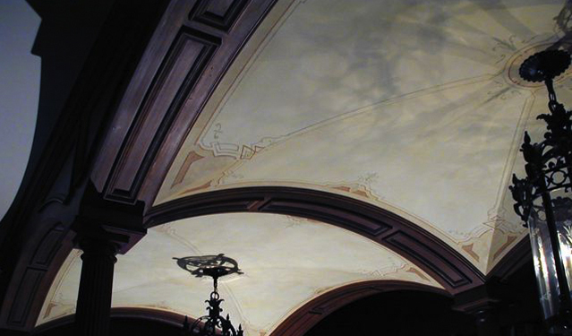 Library ceiling: antiqued plaster and painted design
